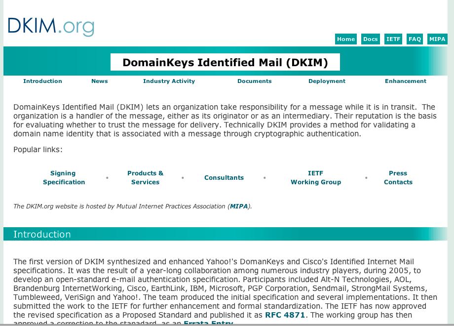 Ajout d'une signature dkim et domainkeys mail