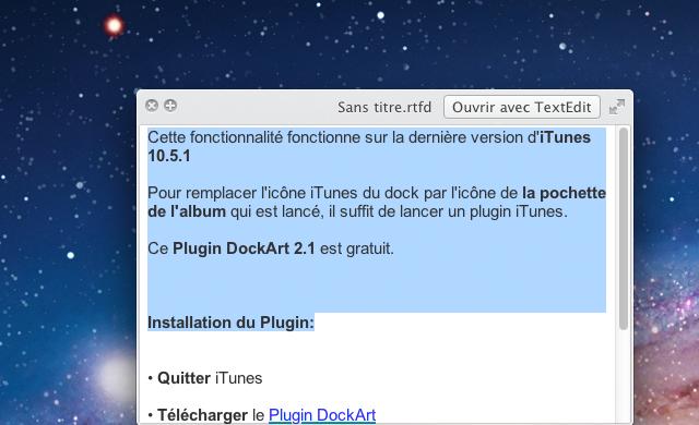Select texte dans Quick Look Mac OS X Lion