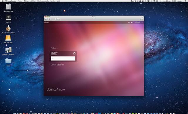 Ubuntu dans Vmware Fusion 4.1 Mac OS X Lion
