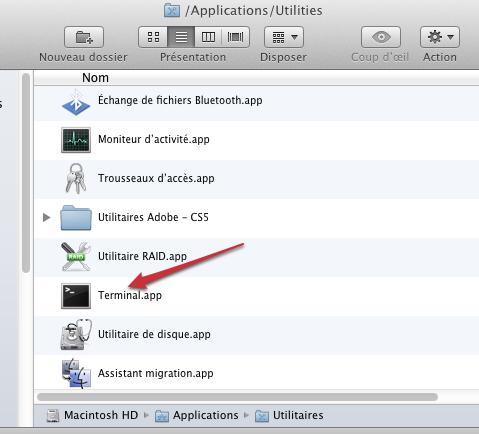 Afficher onglets dans terminal mac os x lion for Fenetre utilitaire mac