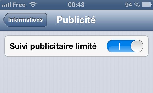 Protection contre traçage pub apple iphone