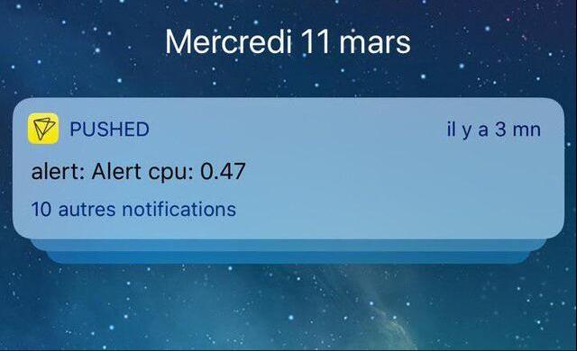 Alert by push notification load server cpu high